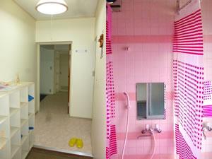 女性専用シェアハウス - カンセイホーム美里の玄関とシャワー室